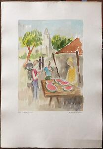 Eliano Fantuzzi incisione colorata a mano Banco di Cocomeri 70x50 firmata rif AA