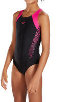 SPEEDO GIRLS SWIMSUIT/SWIMMING COSTUME.BOOM SPLICE MUSCLEBACK BLACK/PINK 9S B344