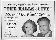 """1954 TV AD~WOC MR AND MRS RONALD COLMAN """"THE HALLS of IVY""""NATIONAL BISCUIT CO"""