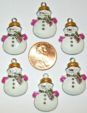 CHRISTMAS SNOWMAN PINK /WHITE CHARM LOT OF 6-ENAMEL/ALLOY-#119