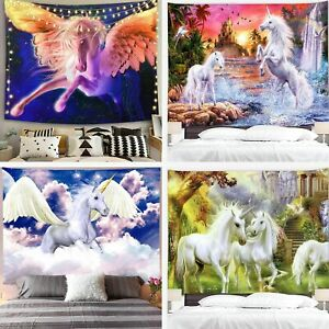 Magic Castle Animals Cartoon Poster Fantasy Forest Psychedelic Purple Tapestry