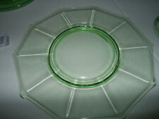 """Lot of 2 Cambridge glass green decagon pattern 8"""" plate circa 1935-1958 signed"""
