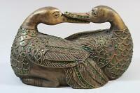 Zwei liegende Enten geschnitzte vergoldete Holzfigur Glas Südostasien (RK821)