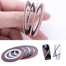 4Pcs Rose Gold Matte Glitter Nail Striping Tape Adhesive Stickers Decor Tools