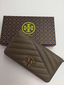 Tory Burch Kira Chevron Zip Continental Wallet Taupe Leather