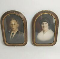 "Antique Portrait Pair Husband Wife Charcoal Carved Wood Frames 19 X 12"" Rare"