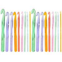 2 Sets Crochet Hooks Colorful Transparent Plastic Hand-Made Sweater Weaving Tool