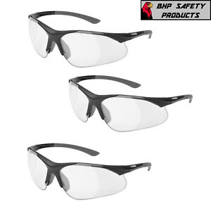 (3 PAIR) ELVEX RX-500C FULL MAGNIFIER READER SAFETY GLASSES 0.5-2.5 STRENGTH