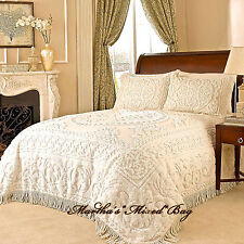 CHENILLE MEDALLION BEDSPREAD Ivory or White 100% COTTON King/Queen/Full Vintage