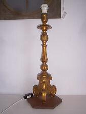 Pique cierge ancien en bois doré monté en lampe Candlestick Kerzenhal Candelière
