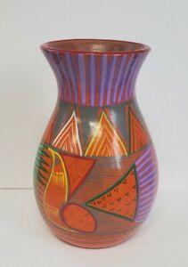 Talavera Pottery Vase Mexican Folk Art Hand Painted Vintage Terracotta Clay