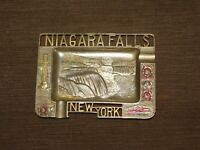 "VINTAGE 5"" X 3 3/4""  MADE  JAPAN NIAGARA FALLS NEW YORK SOUVENIR METAL PIN TRAY"
