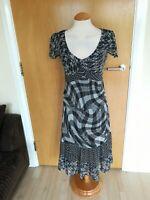 Ladies PER UNA Dress Size 8 Grey Black Chiffon Party Evening Wedding