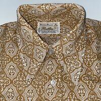 NEW Vtg 60s 70s FLEETLINE Disco Dress Shirt BROWN Perma Press NOS Mens SMALL