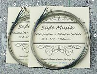 Cello String Set - 2 Complete Sets - German Silver C-G-D-A  4/4 -3/4 Süße Musik