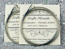 Cello String Set - 2 Complete Sets - German Silver C-G-D-A  4/4 -3/4 Süße Musik