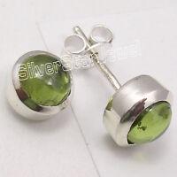 925 Sterling Silver CABOCHON GREEN PERIDOT GIRLS' JEWELRY Stud Earrings 0.8 CM