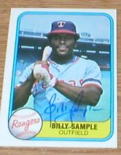 Rangers Billy Sample 81 Fleer Autographed Card