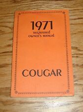 Original 1971 Mercury Cougar Owners Operators Manual 71