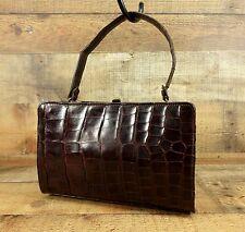 Genuine Alligator Handbag Purse Mid Century Gator Satchel Coin Purse Brown Vtg