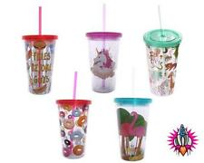 FUNKY CHILDREN'S PLASTIC DOUBLE WALLED CUP WITH LID AND STRAW UNICORN FAST FOOD