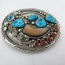 Navajo Sterling Silver Belt Buckle signed: ES / Silber Indianer #Kr