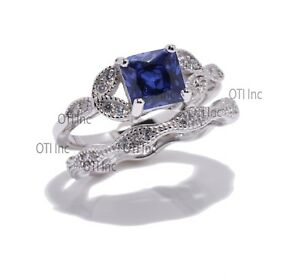 Princess Blue Sapphire Engagement Wedding Nature Wreath Sterling Silver Ring Set