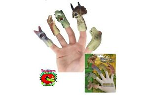 5 piece Dinosaur Finger Puppets Kids Learning Toys Stocking Filler Party Fun NEW