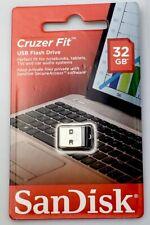 Mini USB Stick SanDisk 32GB Cruzer Fit USB 2.0 Flash Drive SDCZ33-032G-G35 black
