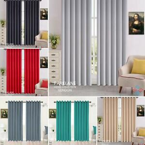 BLACKOUT Thermal Eyelet/ Ring Top CURTAINS with FREE Tie Backs