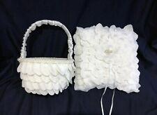 White Rose Pattern Design Flower Girl Flower Basket / Ring Pillow Set Wedding