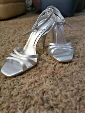 Gianni Bini silver Leather High Heel Sandals With Adjustable Ankle Strap Size 9