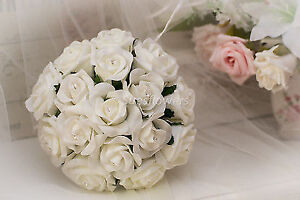 BRIDESMAID BOUQUET IN  IVORY ROSES  6/7 inches