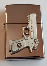ZIPPO 250 HIGH POLISH CHROME Lighter w/ DESERT EAGLE .50 Cal Pistol Emblem 🎁 🆕