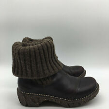 El Natura Lista Brown Leather Knit Top Boot Size 3/5-6