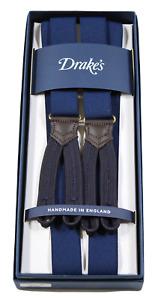 NIB - Drake's – Navy Narrow Suspenders, Navy Button-End, Made in England