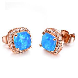 Xmas Handmade 6 MM Suqare Cut Blue Fire Opal Gems Rose Gold Plated Stud Earrings