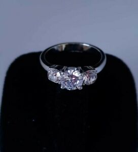 14k 3 Simulated Diamond White Gold Plated Ring