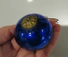 "TRUE ANTIQUE 2""+ GERMANY COBALT BLUE KUGEL GLASS XMAS ORNAMENT, BRASS TOP"