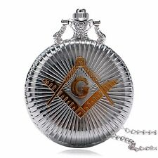 Free-Mason Necklace Pendant Gold Symbol Silver Pocket Watch Chain Gift New