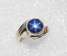 100% NATURAL STAR BLUE SAPPHIRE STONE 6*6 MM SOLID 925 STERLING SILVER RING