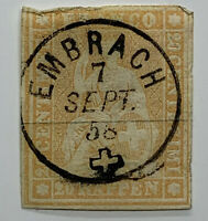 GORGEOUS 1858 EMBRACH SON CANCEL WITH CROSS ON EARLY SWITZERLAND 20 RAPPEN STAMP