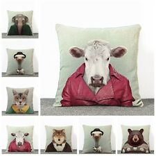 Retro Cartoon Linen Print Animal Home Sofa Decor Cushion Case Pillow Cover AU