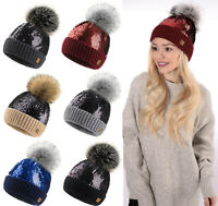 LADIES WOMENS WINTER KNITTED BEANIE SKI HAT Sequins FAUX FUR BOBBLE POM POM