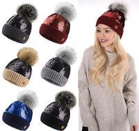 Ladies Womens Sequins Beanie Warm Winter Bobble Faux Fur Pom Pom Wooly Fashion
