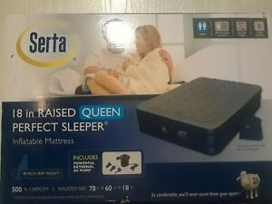 """Serta 18"""" in Raised Queen Inflatable Mattress Includes Powerful External AC Pump"""