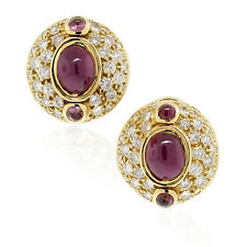 18k Yellow Gold Cabochon Ruby and Diamond Earrings