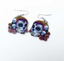 Halloween Earrings - Day Of The Dead Skull Earrings Droppers - Sugar Skull
