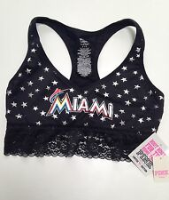 VICTORIA'S SECRET PINK MLB MIAMI MARLINS YOGA STAR LACE BRALETTE CROP TOP S 8 10