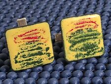Vintage Men's Cufflinks Hand Painted Abstract in Green & Red on Copper